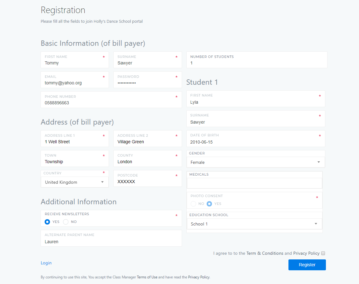 Custom Registration Form