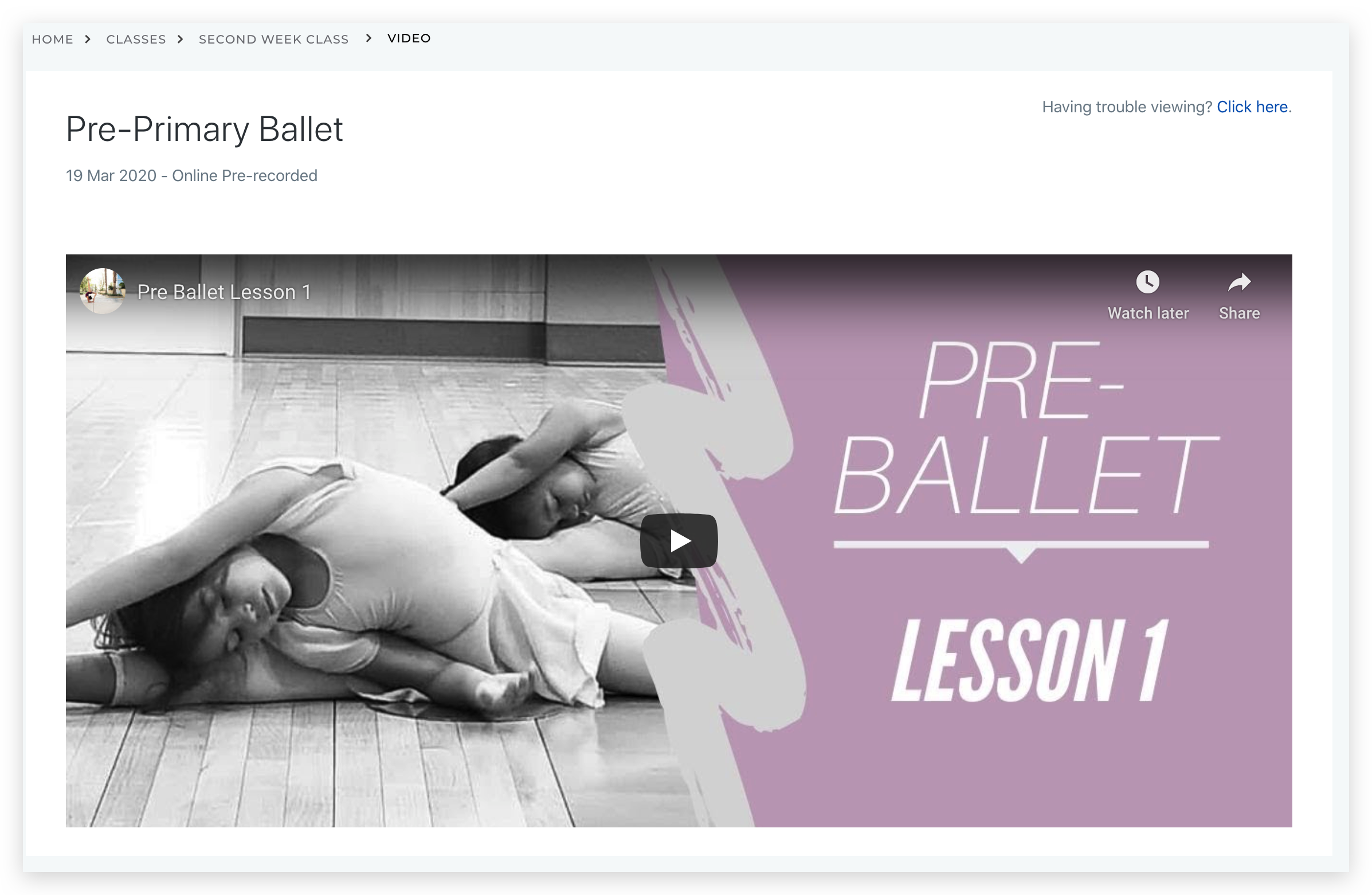 Prerecorded Ballet Lesson