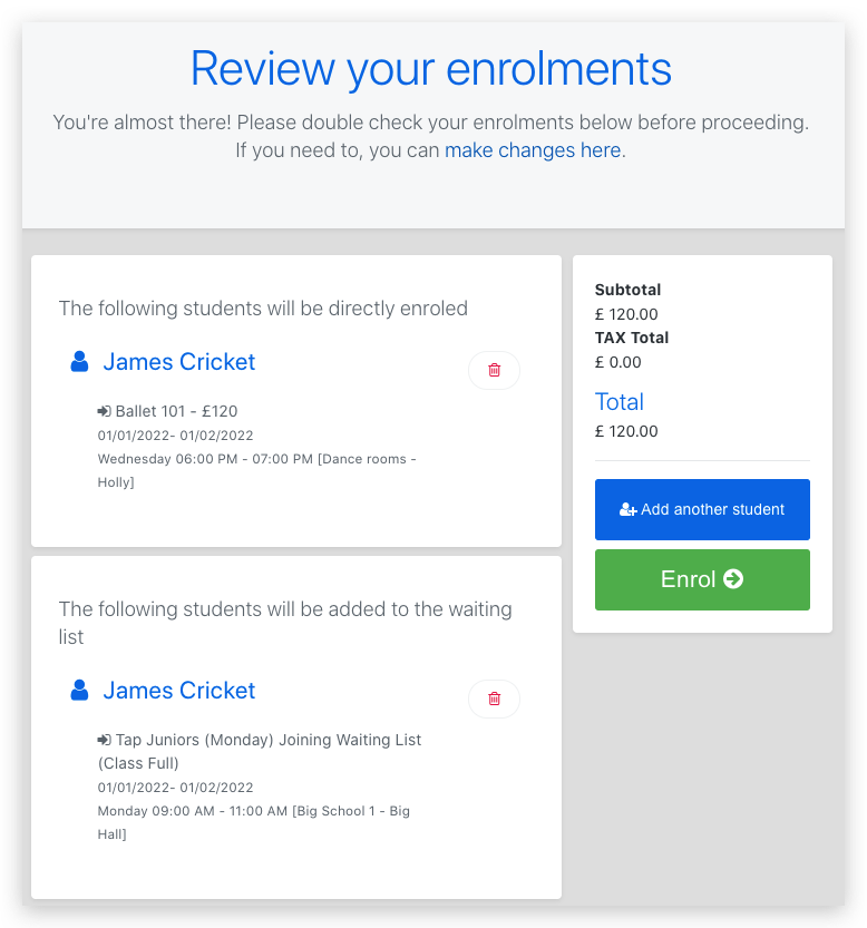 Review Portal Enrollments